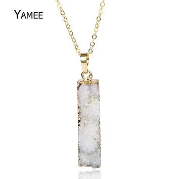 Fashion Cute Rectangle White Natural Druzy Stone Pendant Raw Quartz Gold Color Plated Necklace Charm Jewelry For Women Love Gift
