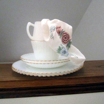 Vintage Mid Century Libby Milk Glass Tea Service for Two