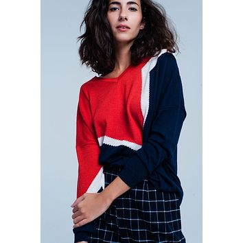 and navy color block Sweater