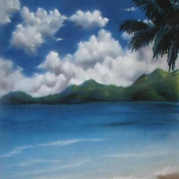 Printed Muslin Scenic Tropical Blue Sky Beach and Mountains Backdrop - 109-7