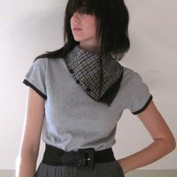 Aviator flight shirt grey jersey scarf cowl large by Minxshop