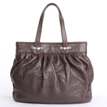 CHANEL Shoulder Tote Bag Purse Dia stitch Quilting Matelasse Brown Leather Women