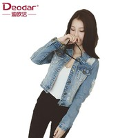 Deodar Women Denim Jacket Jeans Jackets Coat Casual Basic Coats Windbreaker Lapel Pocket Vintage Winter Slim Outwear chaqueta