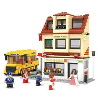 School with Yellow School Bus - LEGO Compatible
