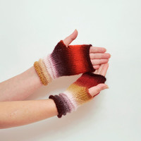 red fingerless gloves, Arm Mittens, fingerless mittens, arm warmers, wrist warmers, wool cable knit, hand warmers