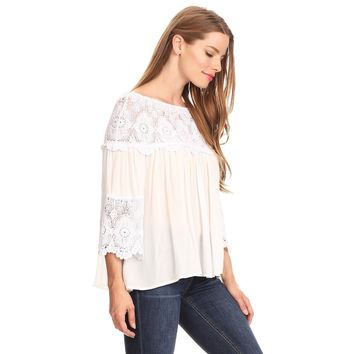 White Lace Peasant Top