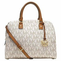 Michael Kors 30H3GTVS3B-150 Women's Jet Set Travel Large MK Logo Vanilla Leather Shoulder Bag