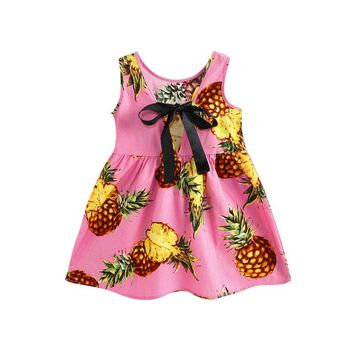 Children Dress Summer Clothes Kids Girl Dresses Kids Sleeves Fruit Printing Pattern Vestidos With Ribbon Bow Tie
