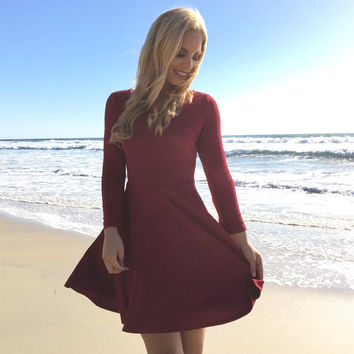 Well Dressed Burgundy Skater Dress