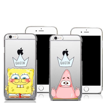 Best Friend Patrick Queen Spongebob Stars Transparent Soft silicone TPU Cover Case For iphone SE 5 5S6 6S 6S Plus 7 7Plus Cases
