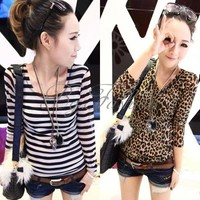 Lady Long Sleeve Tops Leopard Print Stripe Slim T-Shirt Blouses Bottoming Shirt