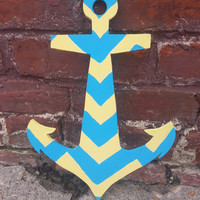 Chevron Painted Wooden Anchor Decor  by embellishboutiquellc