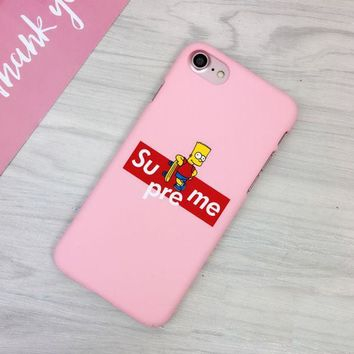 LMFONPR Pink Supreme Simpson Print Iphone 7 7plus &6 6s Plus Cover Case