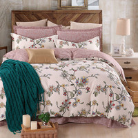 Flash Sale Bedding Plant Luxury Home Textiles Printed Twill Cotton Comforter Set for Bedroom 4Pcs Twin Full Queen King