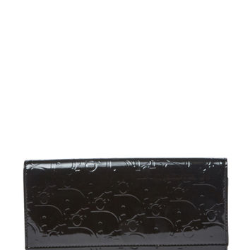 Christian Dior Women's Black Monogram Patent Leather Wallet - Black