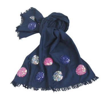 Holiday Sequin Scarf Collection : Deep Blue