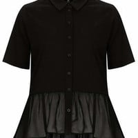 Button Through Peplum Top - Black