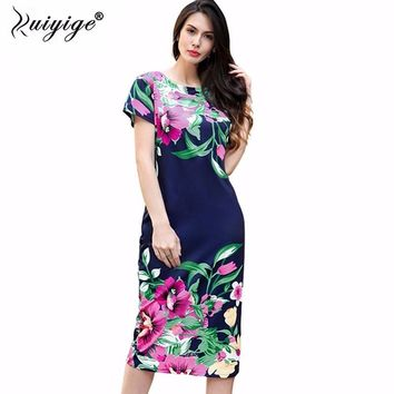 Ruiyige 2018 Women Ladies Summer Casual O neck Party Dresses Sexy Flower Print Back Zip Vintage Pencil Sheath Vestidos Dress
