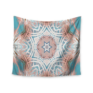 "Alison Coxon ""Tribe Coral And Teal "" Blue White Wall Tapestry"