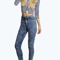 Lara High Waisted Super Skinny Acid Wash Jeans