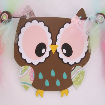 Owl baby shower banner, its a girl banner, green, teal, pink, and brown, READY TO SHIP