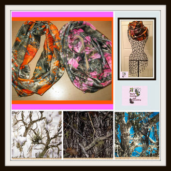 Minky True Timber Camo Infinity Scarf  5 colors ready to Ship   pink, orange , white , camo and blue