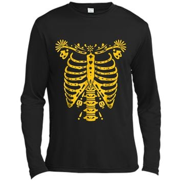 SKELETON  | Halloween Costume Mexican Day Of The Dead Long Sleeve Moisture Absorbing Shirt
