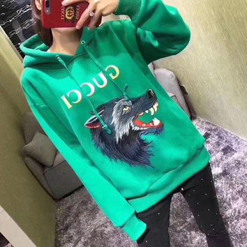 DCCKVQ8 Gucci' Casual Fashion Letter Print Wolf Head Pattern Embroidery Long Sleeve Hooded Sweater Women Hoodie Tops