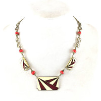 Vintage Red Enamel Necklace Art Deco Enameled Filigree Choker 1920s Geometric French Style Collar Antique Estate Jewelry Gift For Her