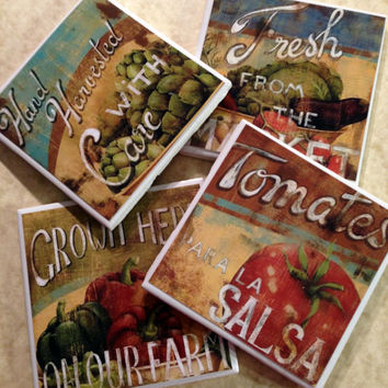 Vegetable Coasters, Fresh, Kitchen Coasters, Kitchen Decor, Market, Vegetables, Health Food, Organic, Rustic Coasters, Pepper, tomatos, food