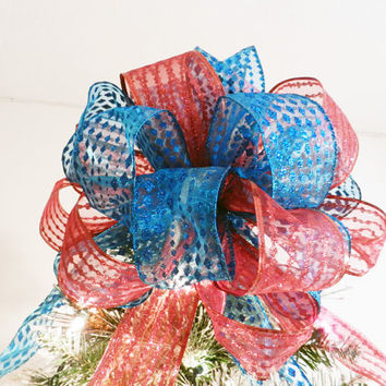 Modern Colors Large Christmas Tree topper bow made of 2 Sheer ribbons  Red & Teal Blue