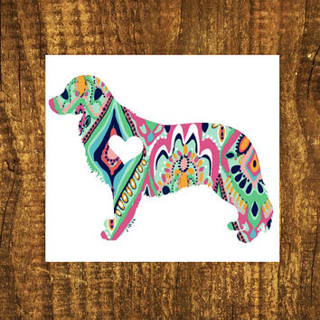 LILLY PULITZER Golden Retriever Heart Decal | Retriever Mom Decal | Decal | Dog Decal | Dog Family Decal | Love Sticker | Love Decal  | 199