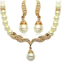 Women's Faux Pearls Statement Bridal Bridesmaid Necklace Earring Set (Golden)