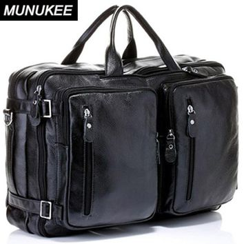 4USE 100% Cowhide Genuine Leather Men's Travel Bag Real Leather Duffle Bag Big Luggage Bag Carry On Overnight Handbag Tote Black