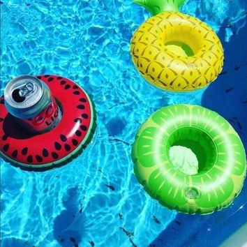 Mini Water Coasters Floating inflatable cup holder Swimming pool drink float toy cup stand Water Party Adornment Cup Mats