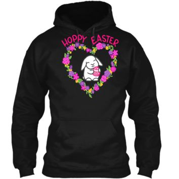 Hoppy Easter Lop Bunny Tshirt Pullover Hoodie 8 oz