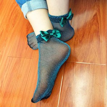 Women Funny Sexy 7 Solid Colors Metal Silver Shinning Socks Satin Ribbon Bowknots Glaze Socks Calcetines de mujer plata mental