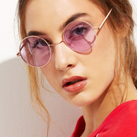 Gold Metal Frame Round Glasses | MakeMeChic.COM