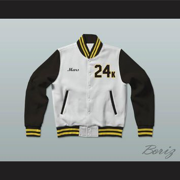 Hooligans 24 K White Black & Gold Varsity Letterman Jacket-Style Sweatshirt