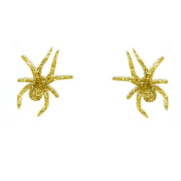 Spider Earrings in Glitter Gold