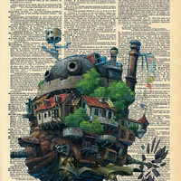 Howls Moving Castle Original Studio Ghibli Print on an Antique Upcycled Bookpage