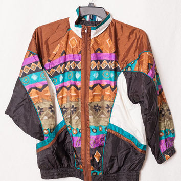 80s XL Ladies Windbreaker Gold and Brown Windbreaker, 80's Turquoise and Purple Windbreaker, Aztecan 80s Windbreaker
