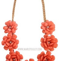 Coral Rosette Statement Necklace
