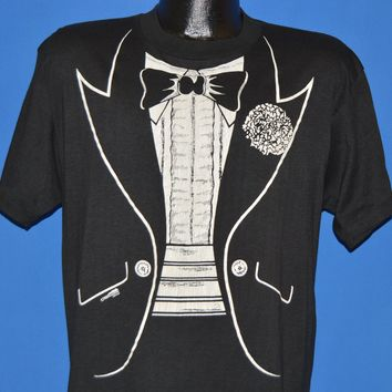 80s Tuxedo Bow Tie Print t-shirt Large