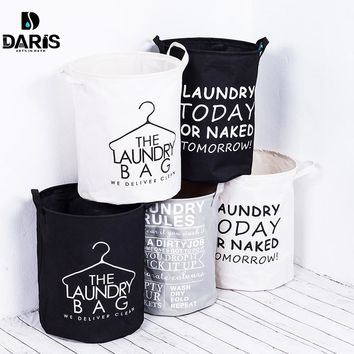 DARIS Fashion Fabric Laundry Basket Bag Dirty Pouch Folding Bracelet Laundry Bag Bathroom Product  Black and white gray classic