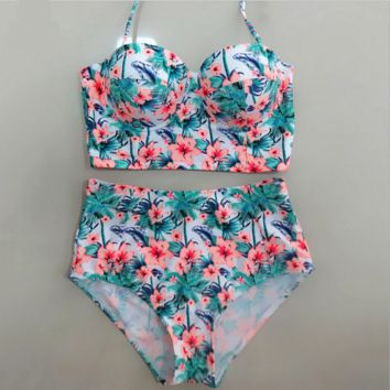 Sexy fashion high waist gather two piece bikini floral green leaf orange flower