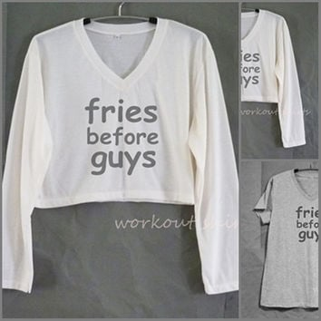 Fries before guys cropped tee or grey short sleeve tshirt V neck tops size XS S M L XL workout shirts/ crop top/ printed t shirt