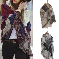 New Women Fashion Warm Plaid Scarf Female Fringed Woolen Shawl Cashmere 3 Colors