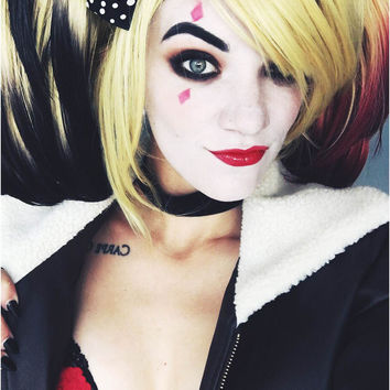 Harley Quinn - Blonde Dip Dyed Red/Black Cosplay Wig Set