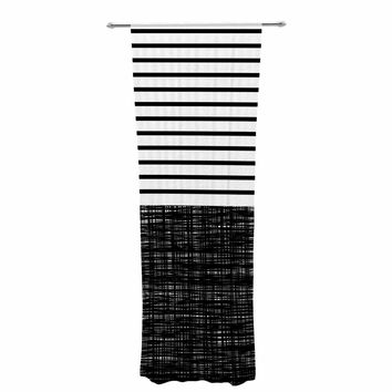 "Trebam ""Platno (with Black Stripes)"" Black White Decorative Sheer Curtain"